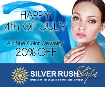 20% OFF on ALL BLUE Color Jewelry at www.SilverRushStyle.com