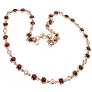 Great Masterpiece genuine Garnet 18K Gold over .925 Sterling Silver handmade necklace