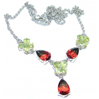 Pear cut Watermelon Tourmaline color Topaz .925 Sterling Silver handcrafted necklace