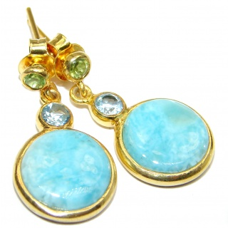 Blue Larimar & Blue Topaz & Peridot Gold over .925 Sterling Silver stud earrings