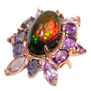 Vintage Design Genuine Black Opal 18K Rose Gold over .925 Sterling Silver handmade Ring size 7 1/4