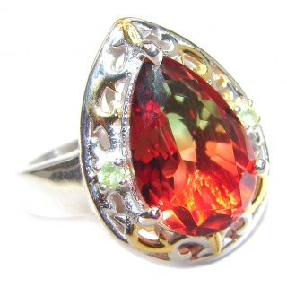 Top Quality Magic Tourmaline 18K Gold over .925 Sterling Silver handcrafted Ring s. 8 1/4