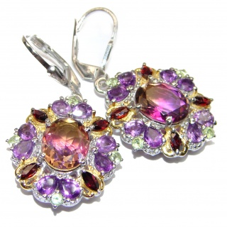 Luxury Ametrine 18K Gold over .925 Sterling Silver entirely handmade earrings