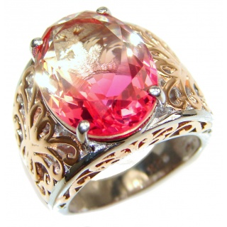 HUGE oval cut Pink Tourmaline 18K Gold over .925 Sterling Silver handcrafted Ring s. 7
