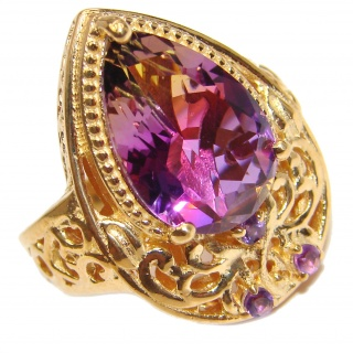 HUGE pear cut Ametrine 18K Gold over .925 Sterling Silver handcrafted Ring s. 6 1/4