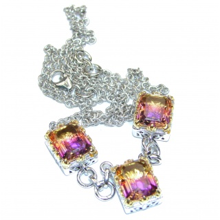 Emerald cut Ametrine 18K Gold over .925 Sterling Silver handcrafted necklace
