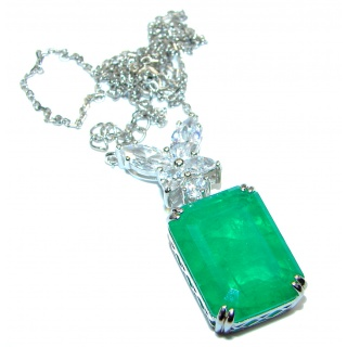 Alessandra Large 24ct Emerald .925 Sterling Silver handcrafted Statement necklace