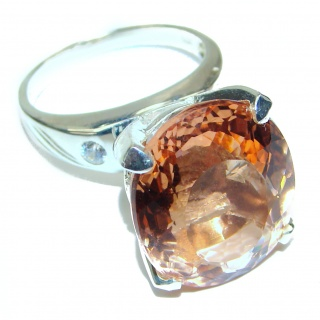 Vintage Design oval cut 25ct Morganite .925 Sterling Silver handcrafted ring size 7