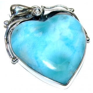 Huge Angel's Heart amazing quality Larimar .925 Sterling Silver handmade pendant