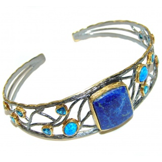 Blue Waves Lapis Lazuli black rhodium Gold over .925 Sterling Silver handcrafted Bracelet / Cuff