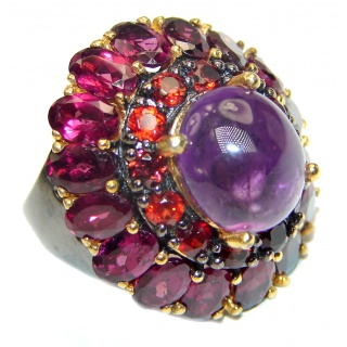 Gabriella Authentic 55ctw Amethyst Garnet black rhodium over .925 Sterling Silver brilliantly handcrafted ring s. 8