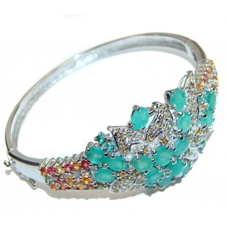 Authentic Emerald Multicolor Sapphire .925 Sterling Silver handcrafted Bracelet