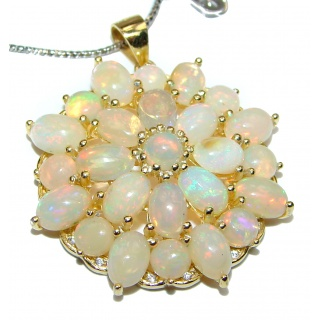 Awesome Natural Ethiopian Opal 14K Gold over .925 Sterling Silver Necklace