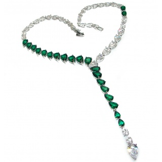 Great Masterpiece genuine Green Topaz .925 Sterling Silver handmade necklace