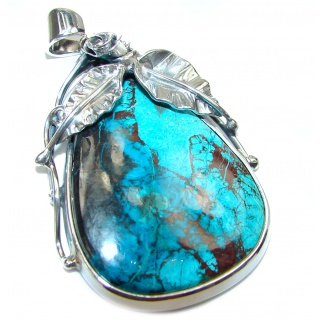 Large Victorian style AAAAA+ Chrysocolla .925 Sterling Silver Pendant