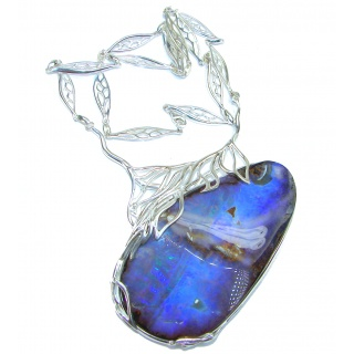 CHALLENGER Natural Earth Mined Opaque Australian Boulder Opal oxidized .925 Sterling Silver handcrafted necklace