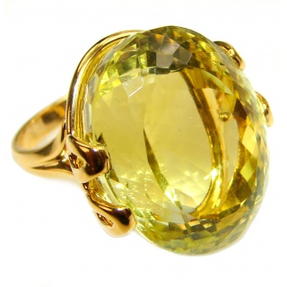 Royal Design 69ct Citrine 18K yellow Gold .925 Sterling Silver handmade ring size 7 1/4