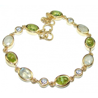 White Galaxy Fire Moonstone Peridot 14K Gold over .925 Sterling Silver handmade Bracelet
