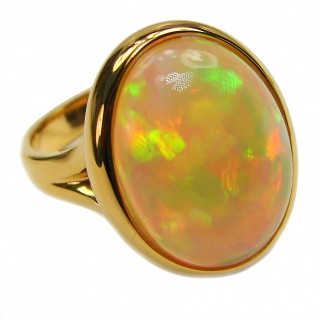 COSMIC WHIRLPOOL Genuine Ethiopian Opal 18K Gold over .925 Sterling Silver handmade HUGE Ring size 5 1/2