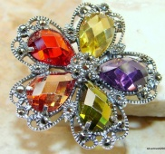 Glamorous Colorful Multigem Sterling Silver ring s. 9 1/4