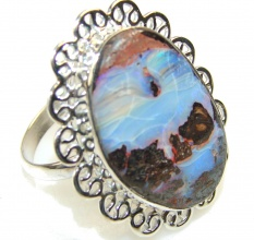 Classy Boulder Opal Sterling Silver Ring s. 11