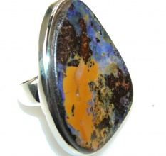 Big Stylish Boulder Opal Sterling Silver Ring s. 7 1/4
