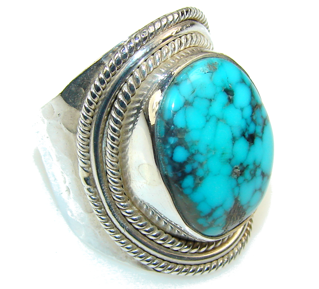 Awesome Blue Turquoise Sterling Silver Ring S 9 11 90g