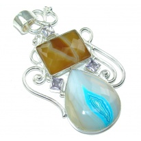 Large! Excellent Multicolor Botswana Agate Sterling Silver Pendant