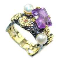 Floral Design! Amethyst & Fresh Water Pearl, Gold Plated, Rhodium Plated Sterling Silver Ring s. 9