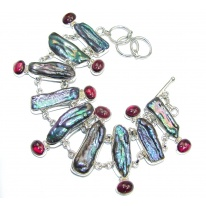 Fabulous Style Tourmaline & Mother Of Pearl Sterling Silver Bracelet