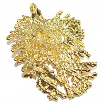 Genuine Leaf Dipped in Gold Sterling Silver pendant