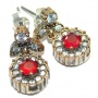 Sublime Victorian Style Created Ruby Sterling Silver earrings