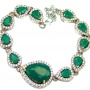 Victorian Style created Emerald & White Topaz Sterling Silver Bracelet / Cuff