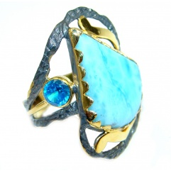 Sublime Genuine AAA Blue Larimar Gold plated over Sterling Silver Ring size 6