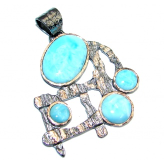 Natural AAA Blue Larimar Gold Rhodium plated over Sterling Silver Pendant