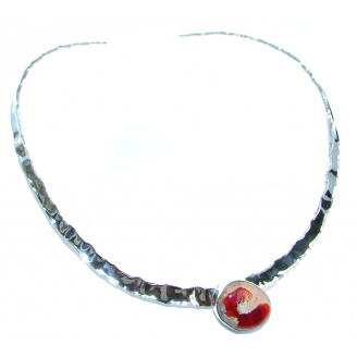 Bohemian Style AAA Mexican Opal Hammered Sterling Silver necklace / Choker