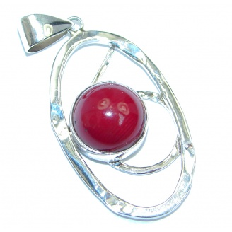 Modern Red Fossilized Coral Sterling Silver pendant