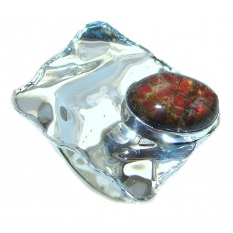 Rainbow Fire AAA Ammolite Sterling Silver ring s. 6