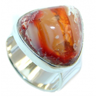 Genuine Mexican Fire Opal Sterling Silver Ring size 6