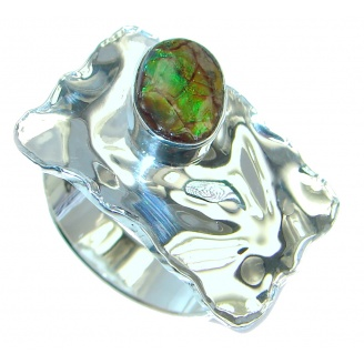 Rainbow Fire AAA Ammolite Sterling Silver ring s. 9