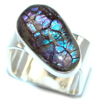 Blue Fire AAA Ammolite Sterling Silver ring s. 8