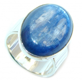 Genuine AAA Larimar Sterling Silver handmade Ring size 7