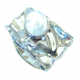 Perfect White Moonstone Sterling Silver Ring s. 6