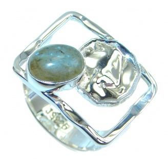 Blue Aura AAA Fire Labradorite Sterling Silver ring size 7 1/2