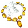 Mexican Summer Created Citrine Sterling Silver handmade Necklace