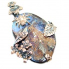 Beautiful Natural Australian Boulder Opal Rose Gold plated obver Sterling Silver handmade Pendant
