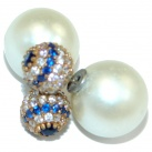 Fresh Water Pearl Sapphire Sterling Silver handcrafted stud earrings