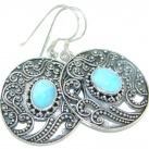 Precious Blue Larimar Oxidized Sterling Silver handmade earrings