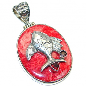 Stylish! Fossilized Coral Fish Sterling Silver handmade pendant
