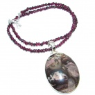 One of the kind Purple Jasper Tourmaline Sterling Silver handcrafted necklace
